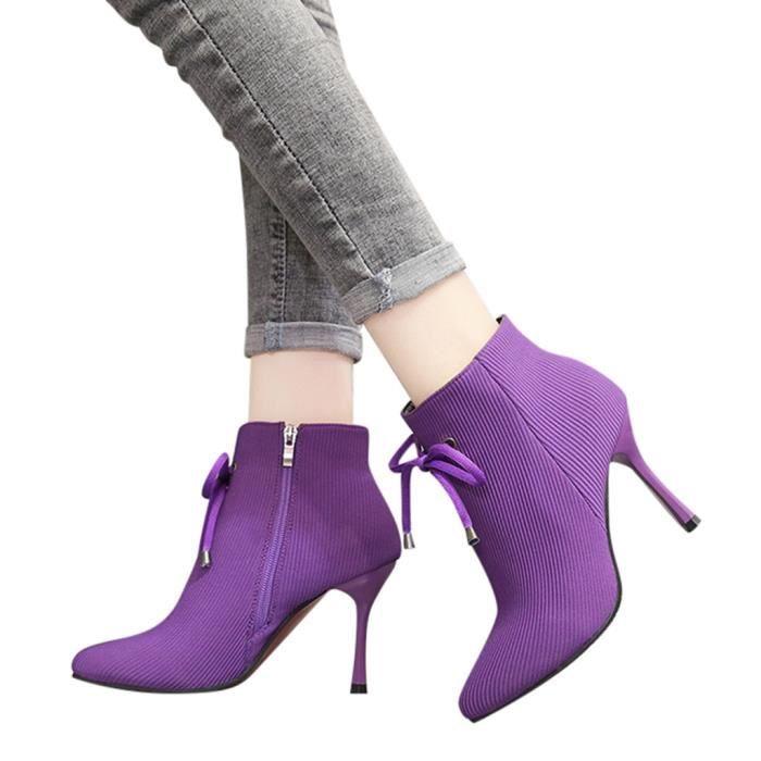 Kanyrne femmes court peluche chaud Chaussures à glissière latérale Bow Bottines talon Bottes talon  Violet