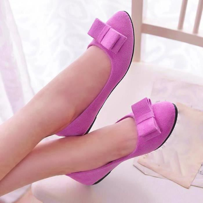Femmes Chaussures Ballet travail Flats Bow Tie Slip Chaussures bateau Chaussures confortables