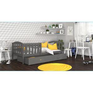 LIT COMPLET LIT ENFANT TÉO 90x190 GRIS GRIS Livré avec tiroir,