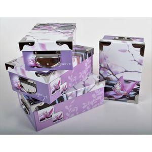 BOITE DE RANGEMENT ELEGANT Lot de 4 boites de rangement en carton imp