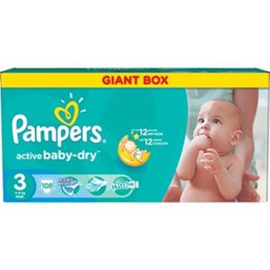 COUCHE 108 PAMPERS couches New Baby-Dry Taille 3 - 5 à 9