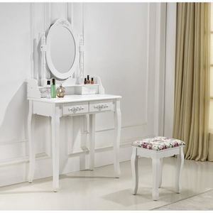 Table maquillage achat vente table maquillage pas cher cdiscount - Coiffeuse blanche avec miroir ...