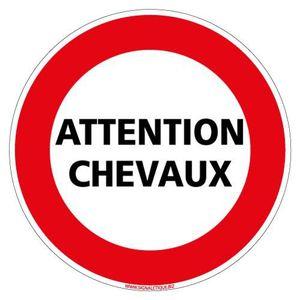 Attention chevaux Panneau Diam/ètre 150Mm Rigide