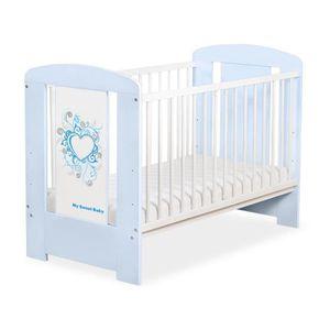 LIT BÉBÉ Lit bébé à barreaux 120 x 60 cm bleu coeur bleu