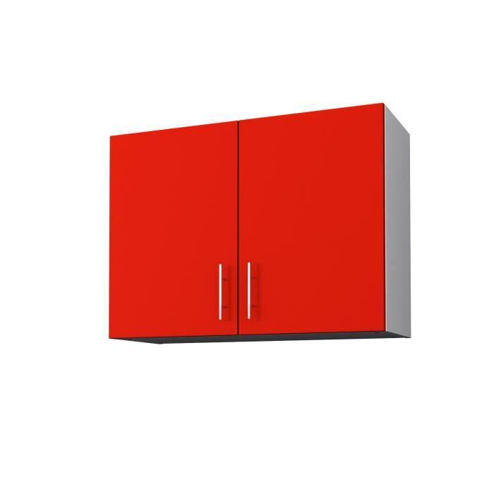 ÉLÉMENTS HAUT OBI Meuble haut de cuisine L 80 cm - Rouge mat