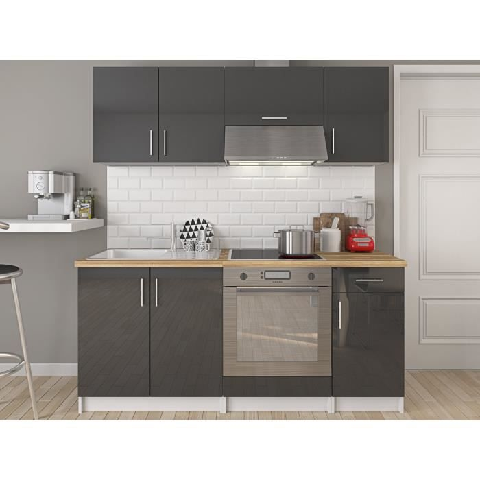 evo cuisine compl te l 1m80 gris laqu achat vente cuisine compl te evo cuisine compl te. Black Bedroom Furniture Sets. Home Design Ideas