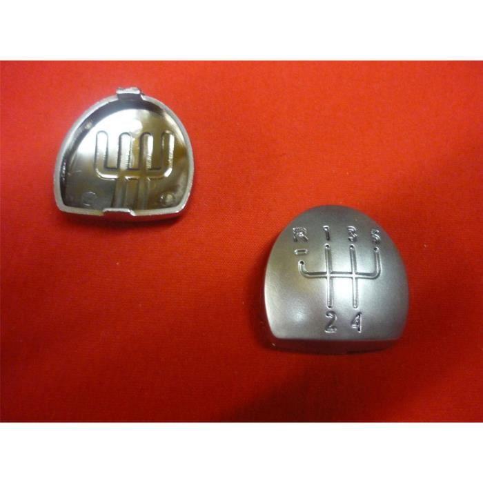 Pastille badge de levier de pommeau de 5 vitesses Argent Chrome RENAULT CLIO - MEGANE - KANGOO - SCENIC - LAGUNA - MODUS - TWINGO