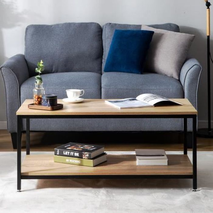 Table basse design industriel bois et métal noir--100 * 50 * 44cm