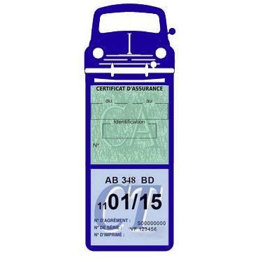 Méga double porte vignette assurance Renault 4CV sticker adhésif couleur Bleu foncé