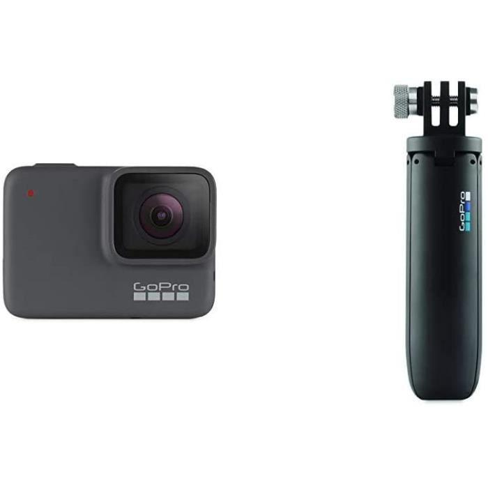 Caméra Sport Hero 7 Silver - Caméra d'action numérique HD 4K, 10 MP Argent & Mini-rallonge avec trépied GoPro Shorty - Noir
