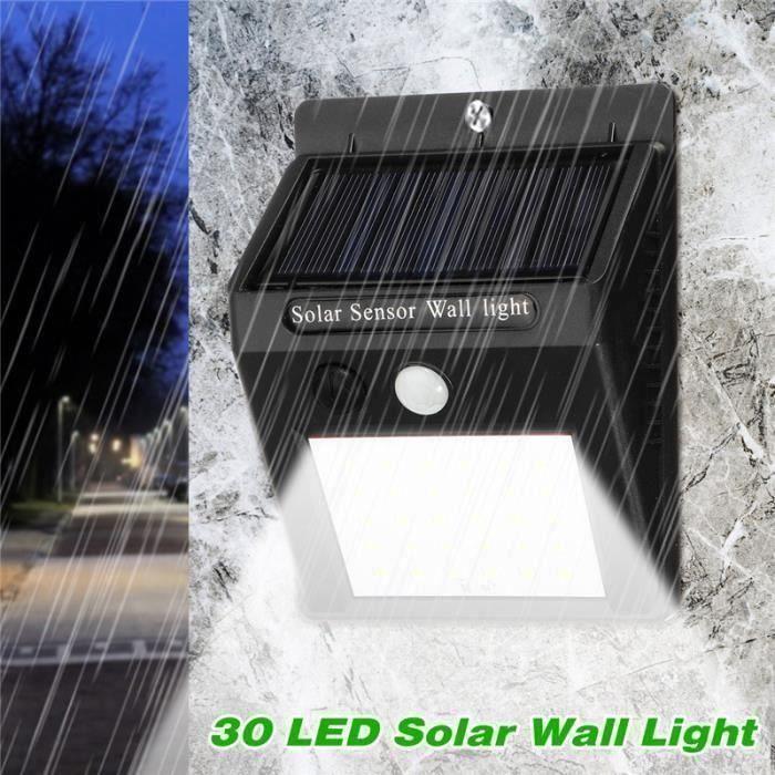 30LED Applique solaire murale exterieure détecteur de mouvement + lumière faible
