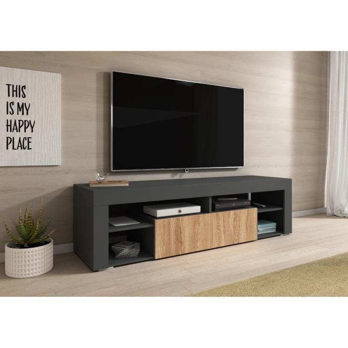 e-Com Meuble TV Titan - 140 cm - Anthracite et Wotan Chêne