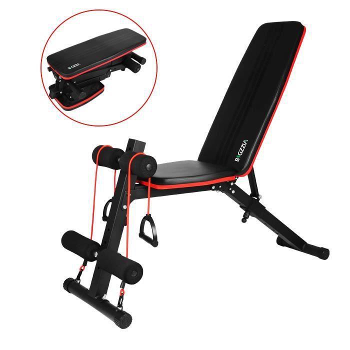 YEEZEE Banc de musculation pliable abdominaux et dorsaux, Formation d'exercice Max 100KG, Noir et rouge