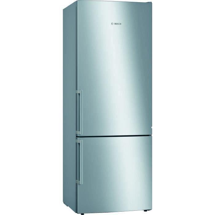 BOSCH KGE58AICP Réfrigérateur combi - 495 L (377 L + 118 L) - Brassé LowFrost - HxLxP 191 x 70 x 77 cm - Inox