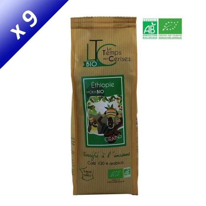 [LOT DE 9] LE TEMPS DES CERISES Café en grain BIO Moka d'Ethiopie - 250 G