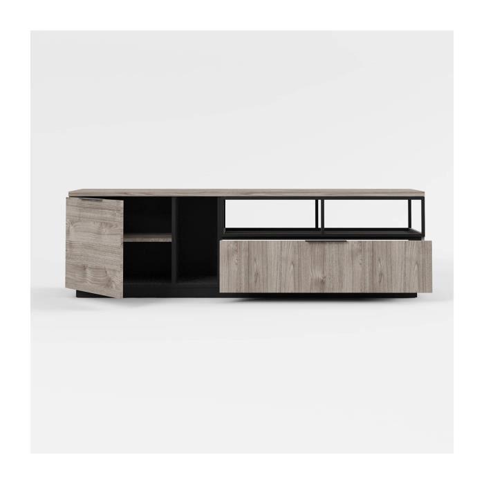 Meuble TV Hifi 1 porte 1 tiroir Snapp - Fabrication Française - CaliCosy Bois Clair