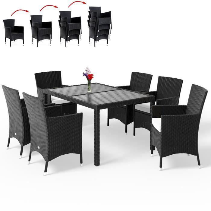 Salon de jardin 13 pièces en polyrotin Chaises empilables Jardin terrasse