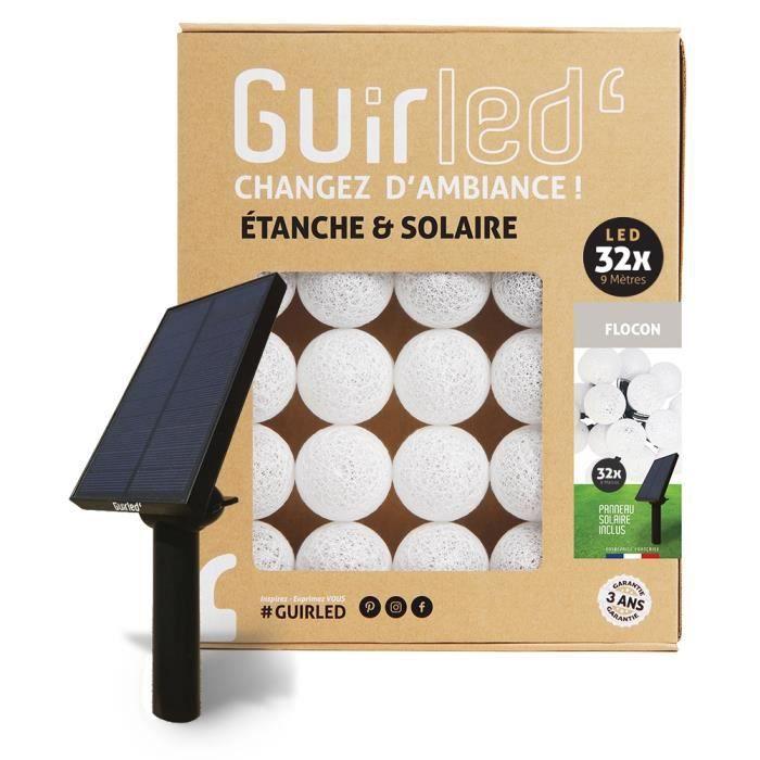 Guirlande lumineuse boules d'extérieur Solaire Guinguette LED- Étanche - 32 boules 6,4m - Flocon