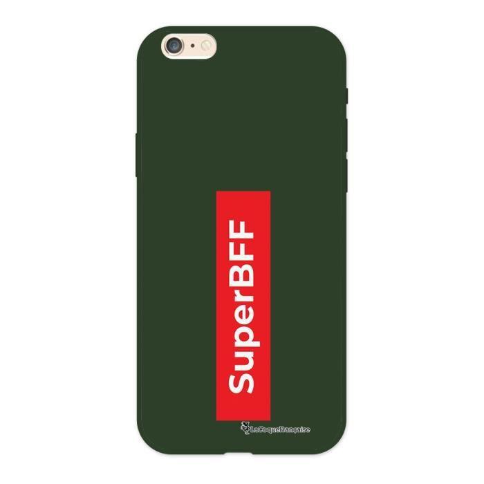 Coque iPhone 6/6S Silicone Liquide Douce vert kaki SuperBFF Ecriture Tendance et Design La Coque Francaise