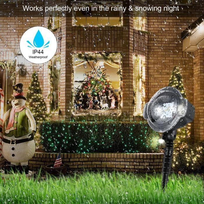 Projecteur imperméable de neige Décoration pour Noël, Lampe de projecteur à Led de Noël