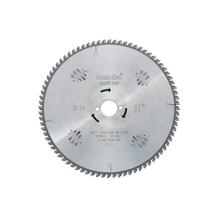 Metabo - Lame de scie circulaire HW/CT 230x2,6x30 mm 60 WZ