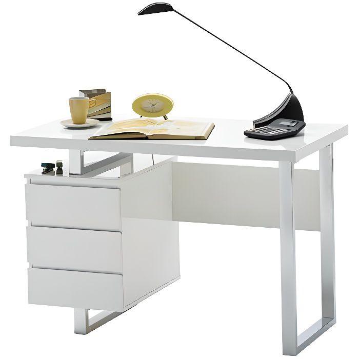 Miliboo - Bureau design avec rangements blanc laqué brillant L115 cm KANY