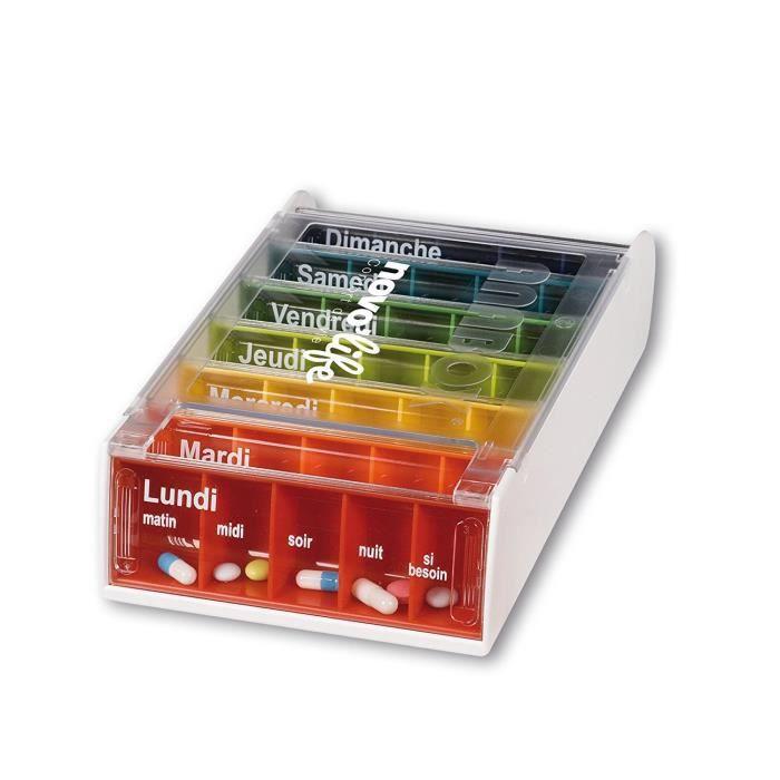 Pilulier semainier 35 compartiments NOVOLIFE Health'Life - Transparent et fond en couleur