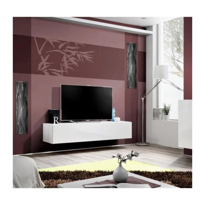 Meuble TV FLY design, coloris blanc brillant. Meuble suspendu moderne et tendance pour votre salon.: 40 Blanc