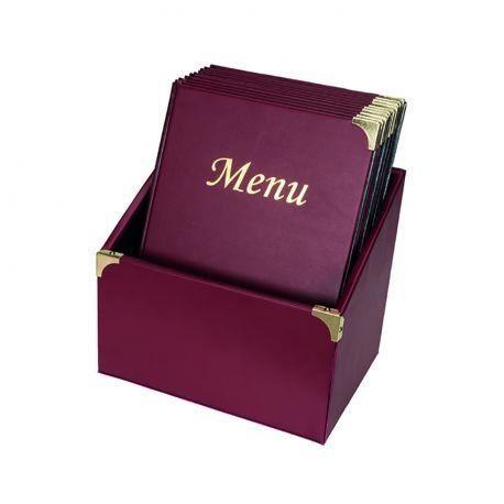 10 protège-menus Basic bordeaux avec boite de rangement 20 Bordeaux