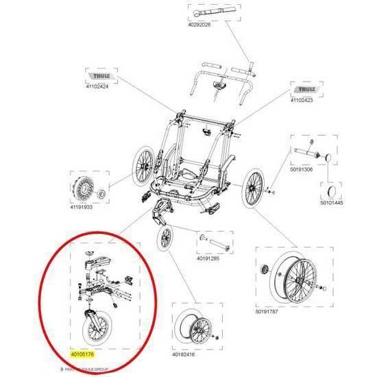Transporteurs Pièces détachées Thule Chariot Front Fork And Pivoting Mount For Chinook 40105176 - Taille Unique - Noir