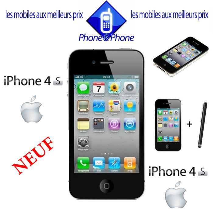 apple iphone 4s noir 8go neuf debloque stylet achat. Black Bedroom Furniture Sets. Home Design Ideas