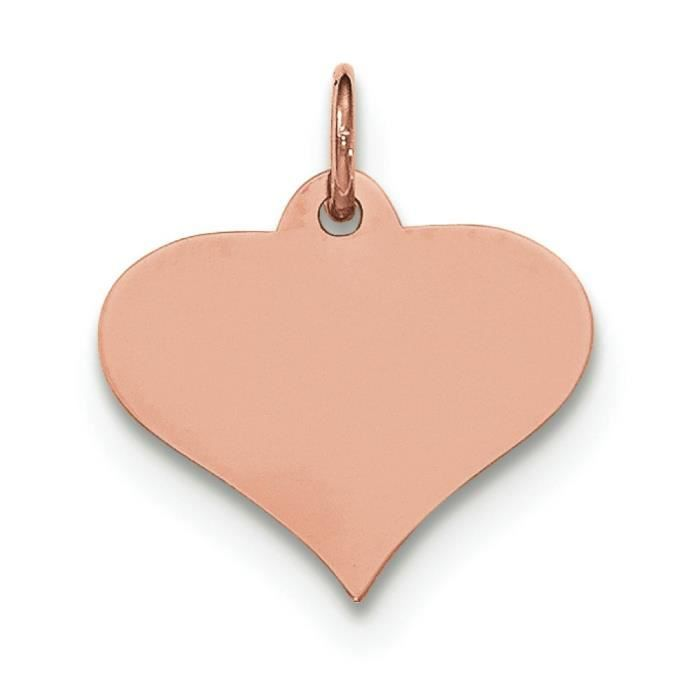 Or Rose 14 carats-Tirant .011 disque Engravable coeur charme