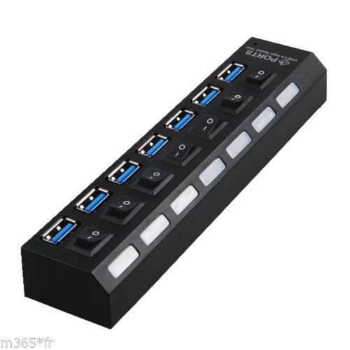 hub usb multiprise 7 ports usb 2 0 cable pc usb avec. Black Bedroom Furniture Sets. Home Design Ideas