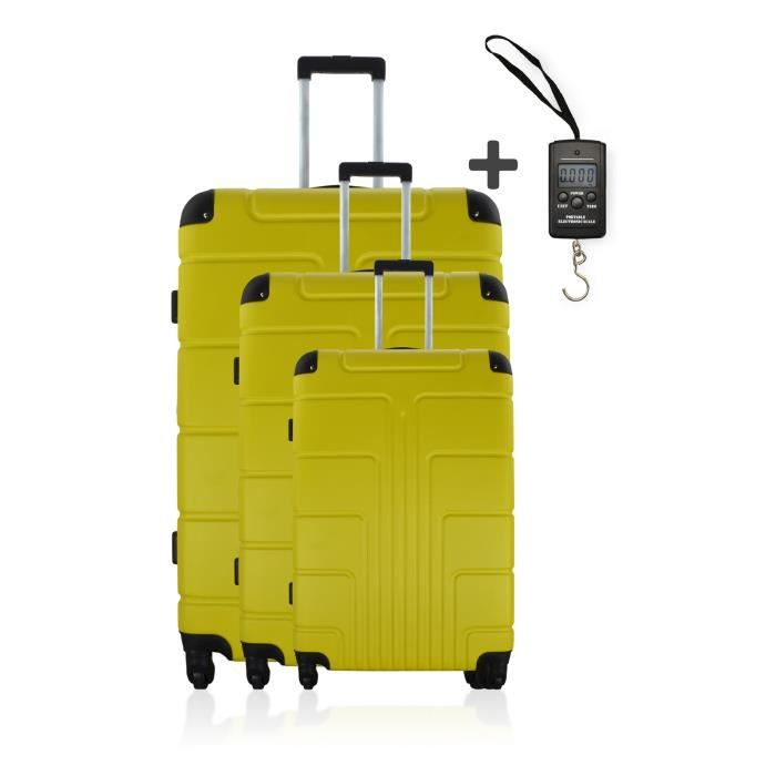 set 3 valises trolley ottawa jaune pese bagage jaune jaune achat vente set de valises. Black Bedroom Furniture Sets. Home Design Ideas