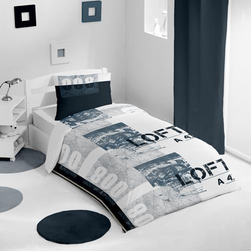 housse de couette et une taie huit cent blanc achat. Black Bedroom Furniture Sets. Home Design Ideas
