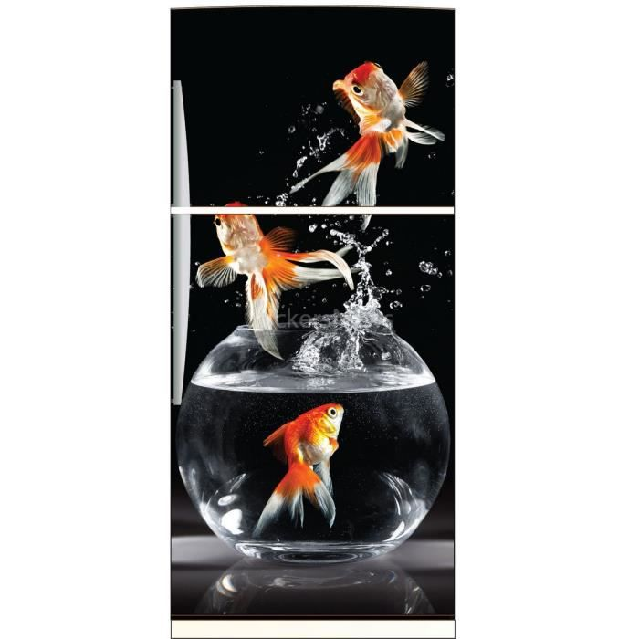 stickers frigo d co cuisine poissons 6228 dimensions achat vente stickers cdiscount. Black Bedroom Furniture Sets. Home Design Ideas