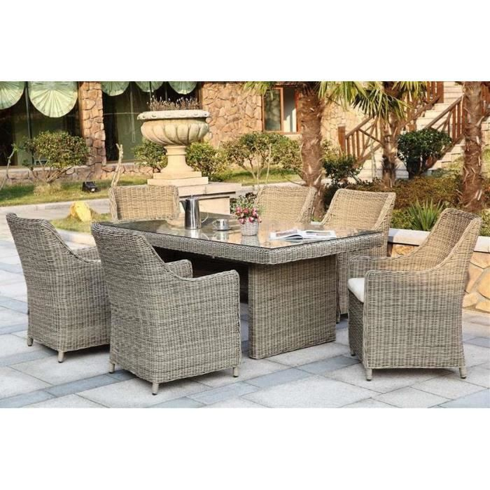 Ensemble table fauteuils r sine tress e ronde 6 places - Salon de jardin table ronde ...