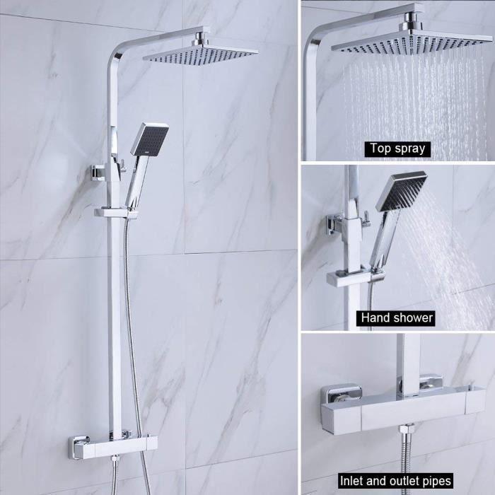 Ensemble de douche de luxe avec douche de pluie jets de massage douche cascade BONADE Panneau de douche thermostatique en acier inoxydable Syst/ème de douche fonctionnel