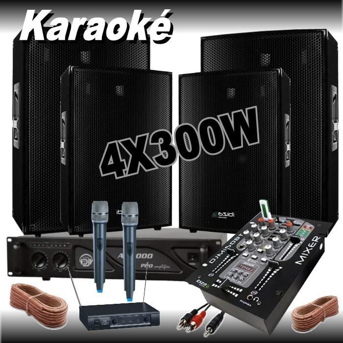 pack karaok avec 2 micros hf 1 table de mixage usb bluetooth 1 ampli 1000w 4. Black Bedroom Furniture Sets. Home Design Ideas