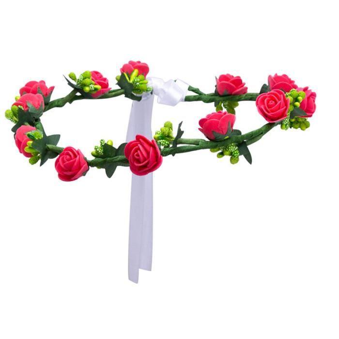BANDEAU - SERRE-TÊTE Couronne à fleurs roses avec feuilles et laçage bl