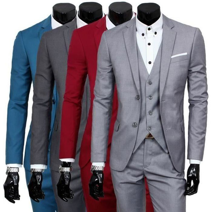 costume homme 3 pieces mariage tenue de soir e f te blazer veste homme gris clair achat. Black Bedroom Furniture Sets. Home Design Ideas