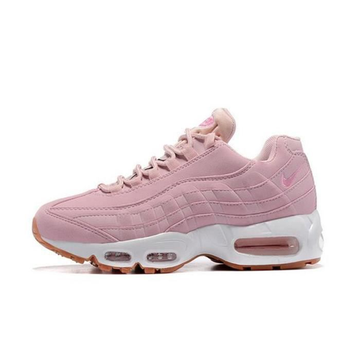 nike air max 95 femme chaussure de running rose rose rose achat vente skateshoes soldes. Black Bedroom Furniture Sets. Home Design Ideas