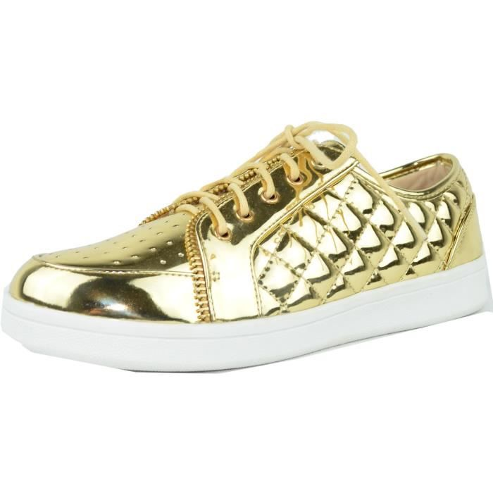 Metallic Quilted Fashion Sneaker W8TB4 Taille-40