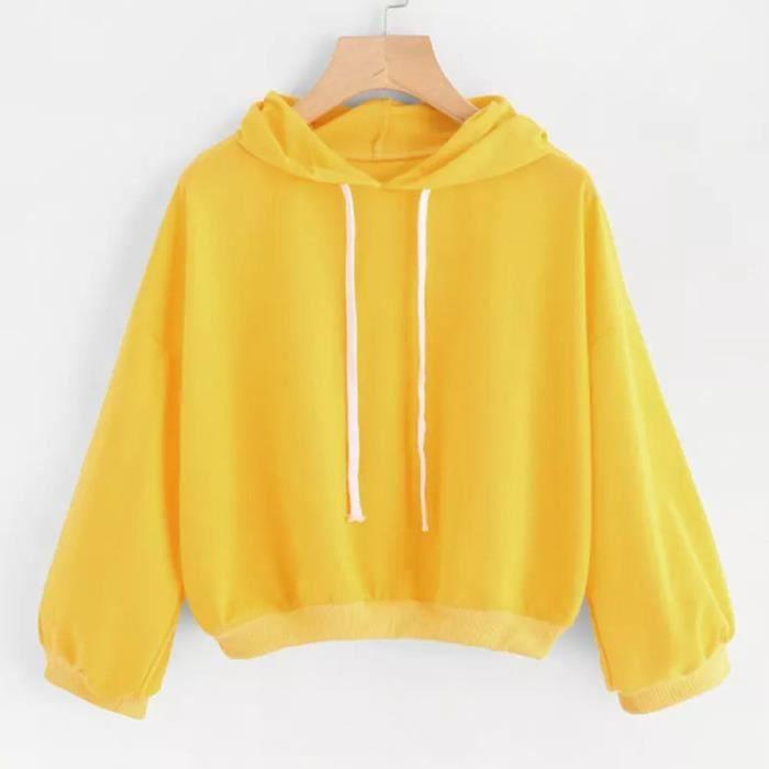 sweat à capuche jaune femme