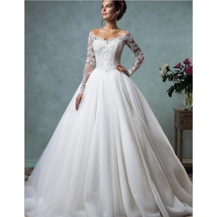 Manche longue Robe de mariée Nouveau douce
