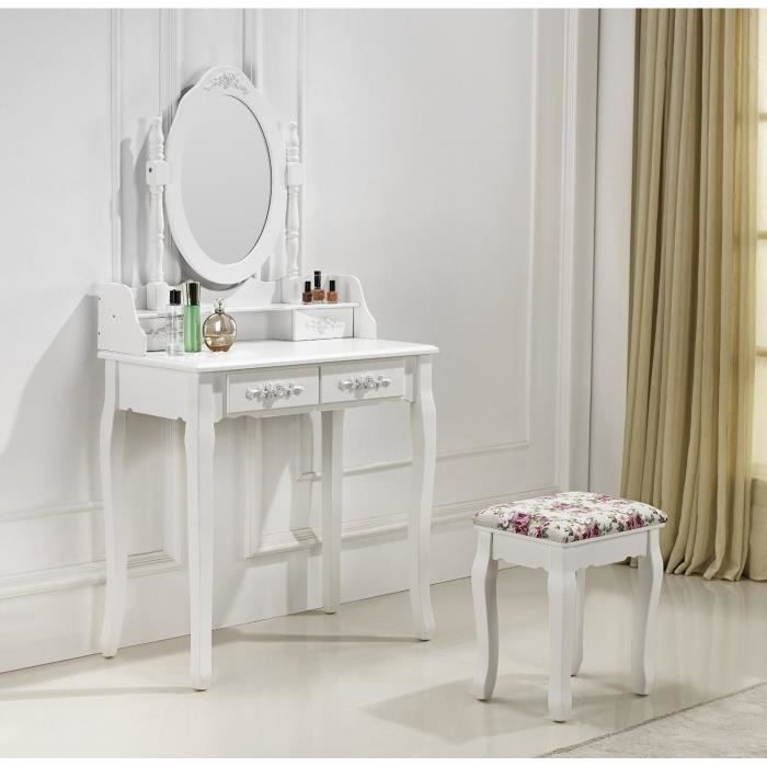 coiffeuse blanche avec si ge et miroir k achat vente. Black Bedroom Furniture Sets. Home Design Ideas