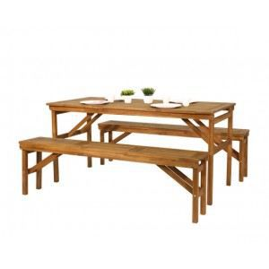 Table et bancs de jardin acacia achat vente salon de for Banc et table de jardin