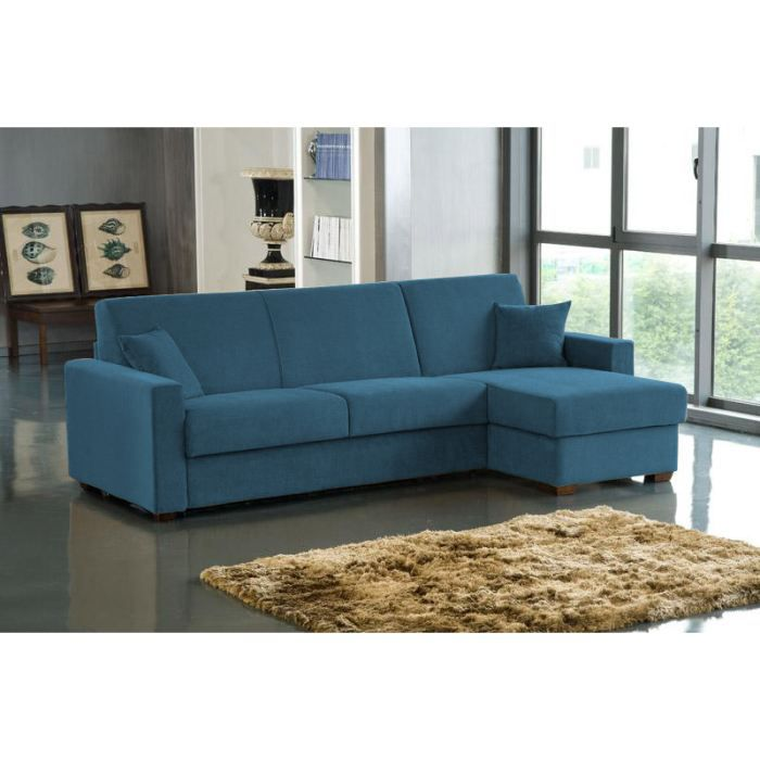 canap convertible lit angle milano micro bleu achat vente canap sofa divan les. Black Bedroom Furniture Sets. Home Design Ideas
