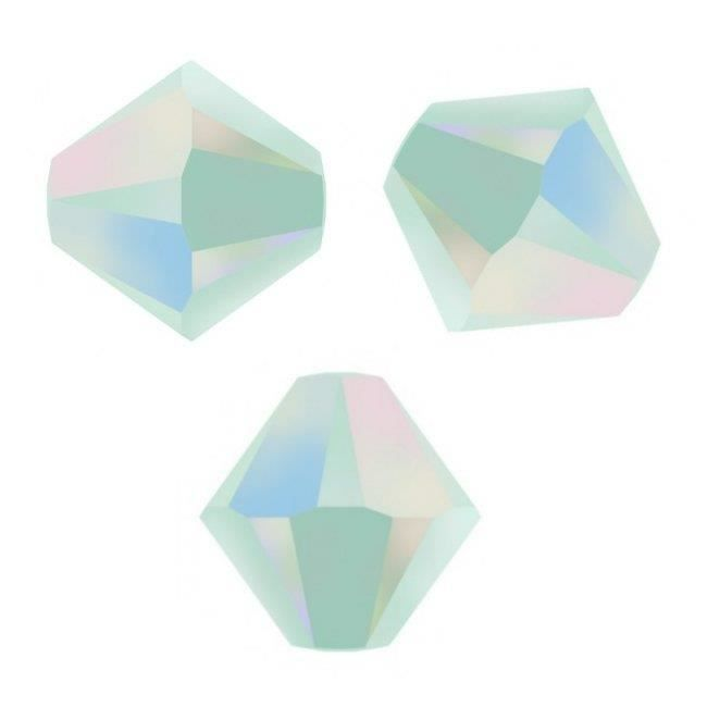 **  50 perles  toupies 4 mm AB SWAROVSKI  EMERALD SATIN  AB  PROMOTION **  5301