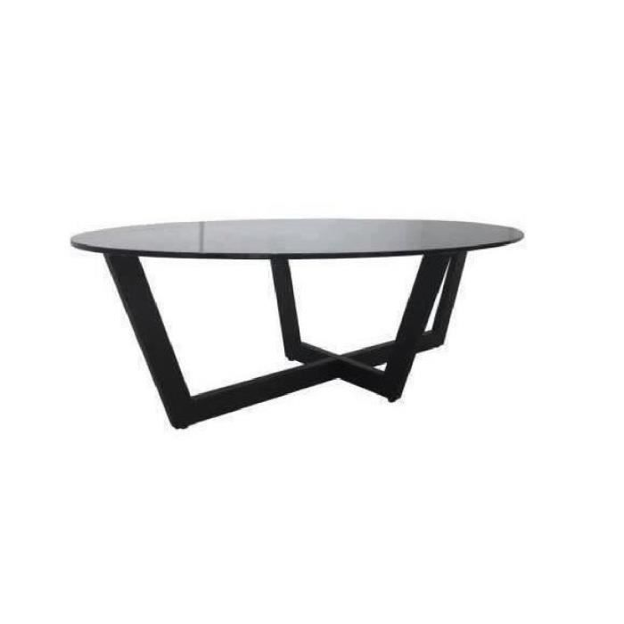 Zircon table basse 130cm plateau en verre tremp noir for Table basse scandinave plateau en verre
